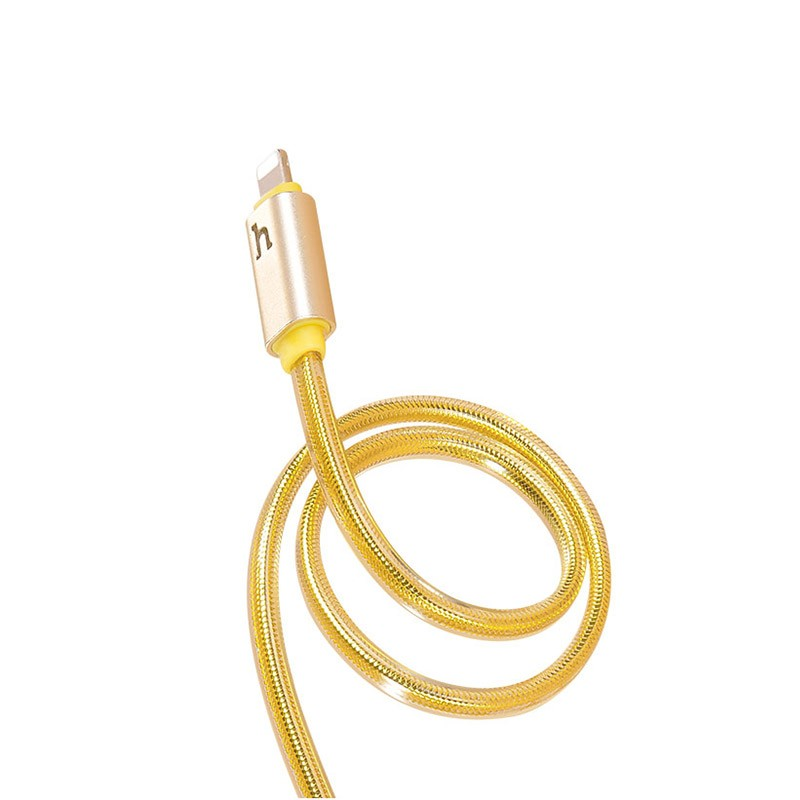 Hoco UPL12 Metal Jelly Knitted Lightning Charging Cable (Smart Light)(L=1.2)