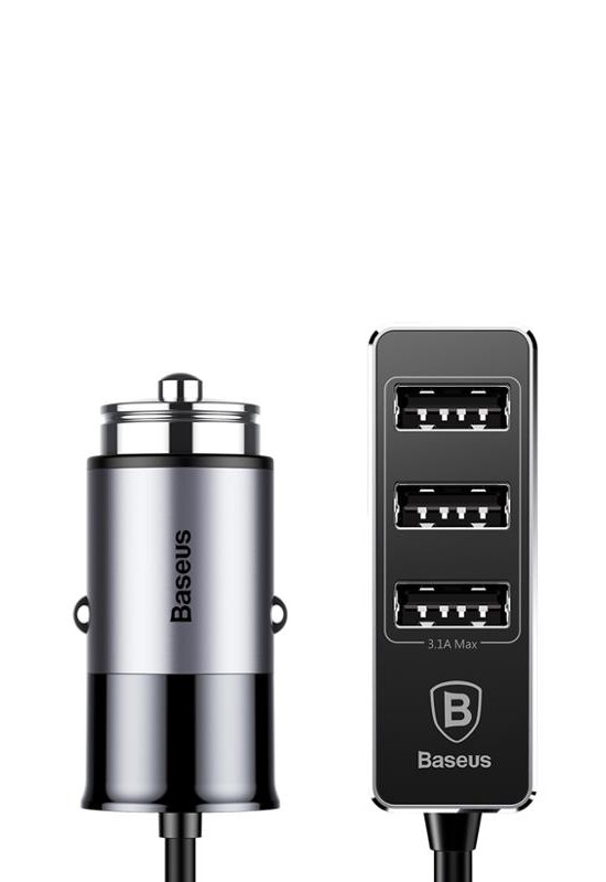 Baseus Enjoy Together Four Interfaces Output Patulous Car Charger 5.5A Dark gray
